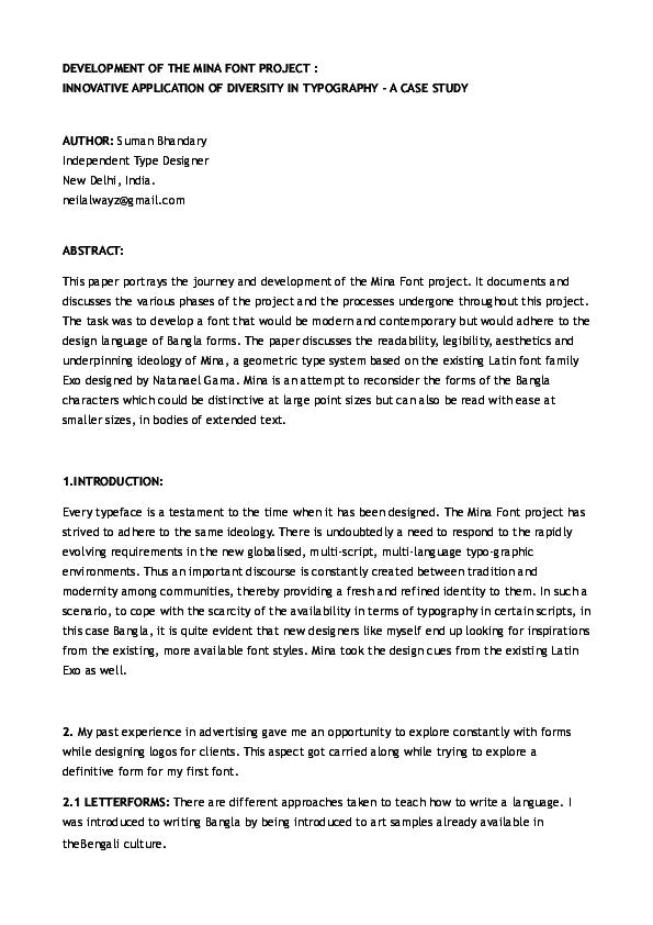 PDF) DEVELOPMENT OF THE MINA FONT PROJECT : INNOVATIVE