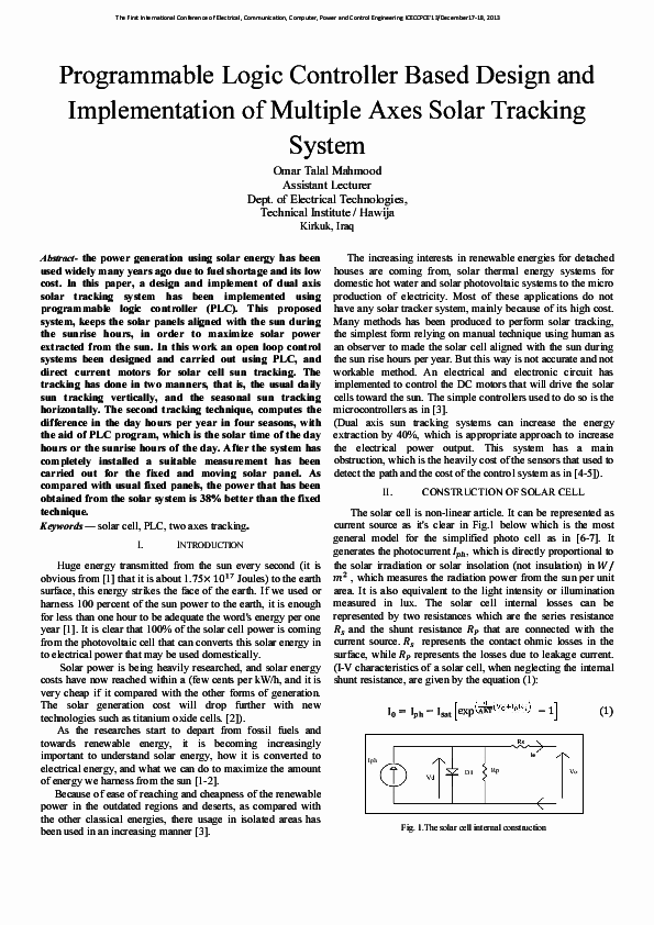 Pdf Programmable Logic Controller Based Design And Implementation Of Multiple Axes Solar Tracking System Omar Yesaary Academia Edu