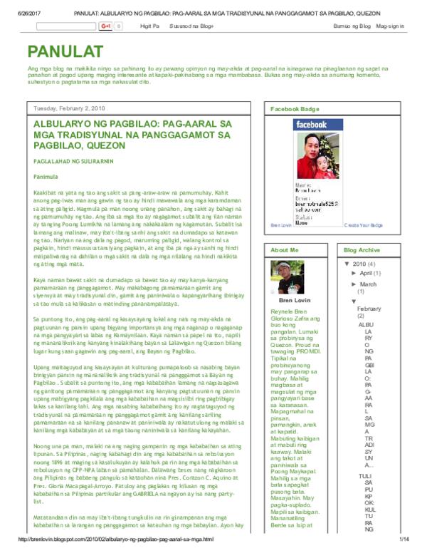PDF) PANULAT ALBULARYO NG PAGBILAO PAG AARAL SA MGA