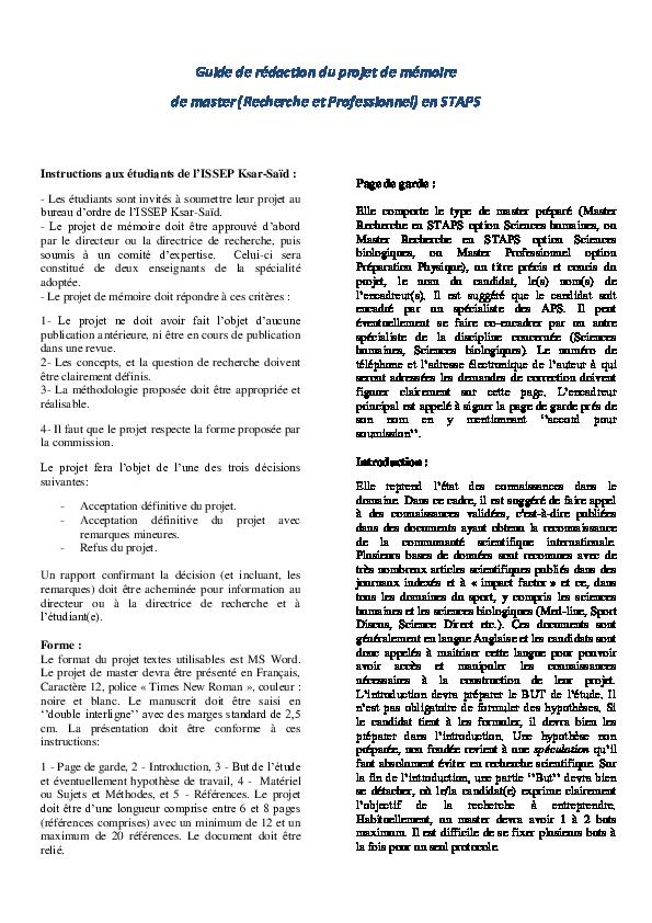 Pdf Guide De Rédaction Du Projet De Mémoire De Master