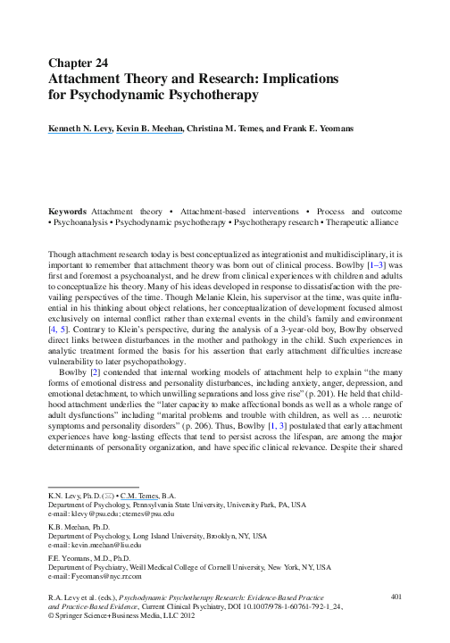 PDF) Attachment Theory and Research: Implications for Psychodynamic