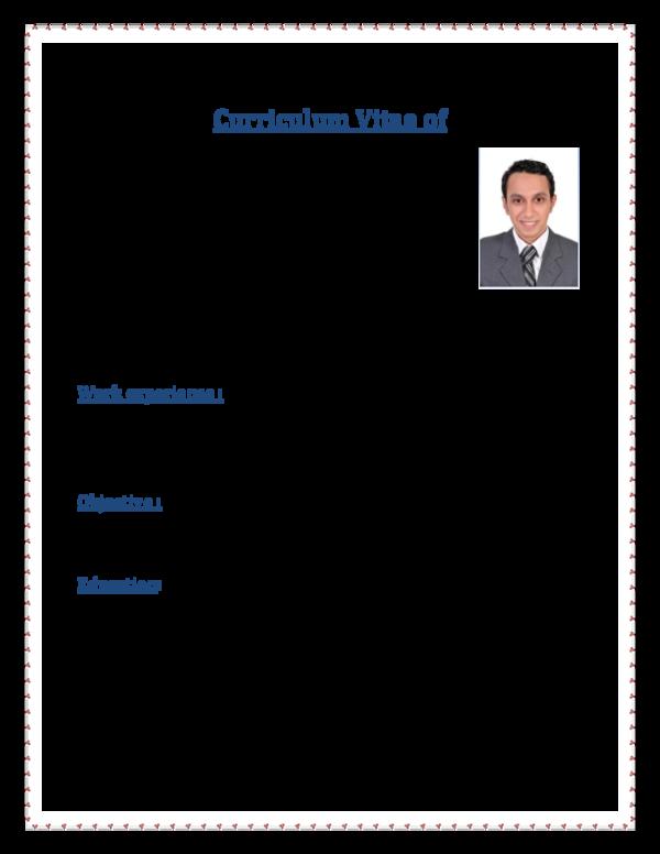 PDF) Curriculum Vitae of Mostafa hussien Mostafa mohammed | Mostafa