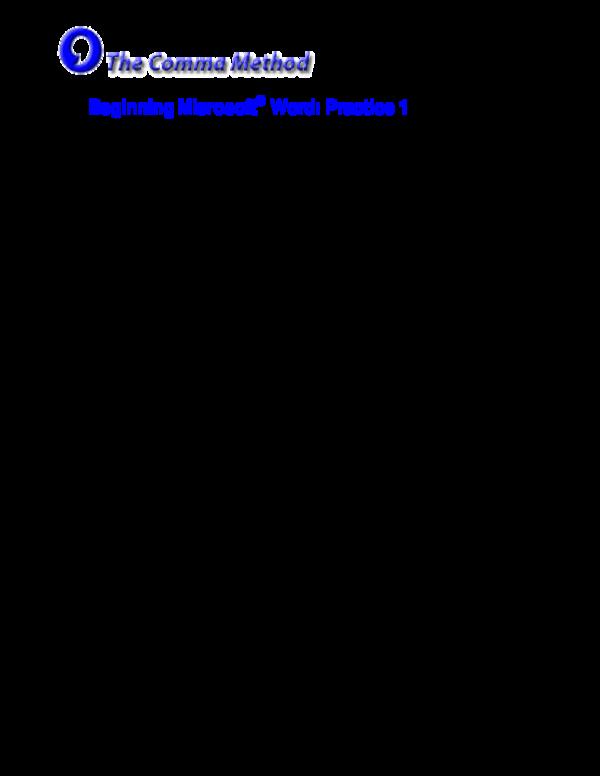 pdf  microsoft word practice exercises beginning microsoft  u00ae word  practice 1
