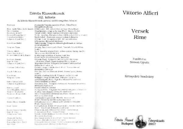 PDF) Vittorio Alfieri: Versek - Rime (2007) | Dr  Simon