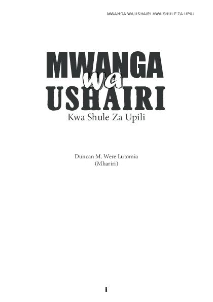 (PDF) MWANGA WA USHAIRI KWA SHULE ZA UPILI i MWANGA wa wa