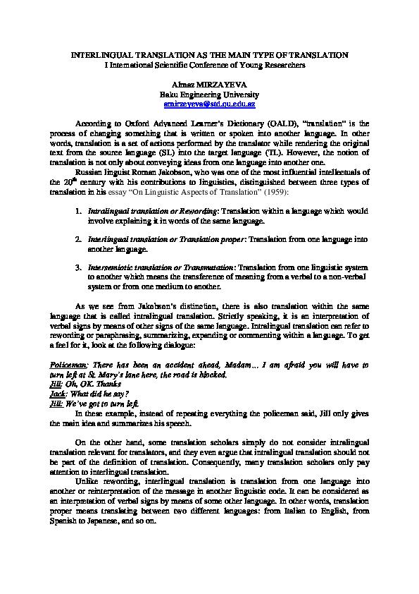 PDF) INTERLINGUAL TRANSLATION AS THE MAIN TYPE OF TRANSLATION