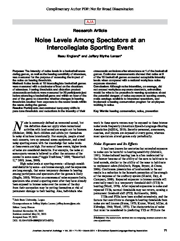 PDF) Noise Levels Among Spectators at an Intercollegiate