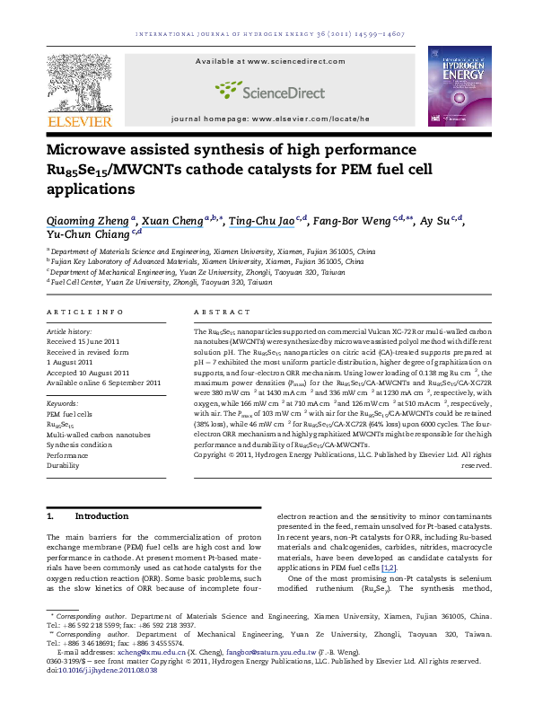 PDF) Microwave assisted synthesis of high performance Ru85Se15
