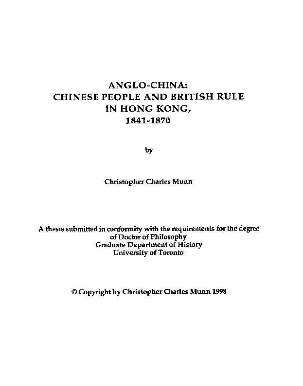 PDF) ANGLO-CHINA: CHINESE PEOPLE AND BRITISH RULE IN HONG KONG, 1841