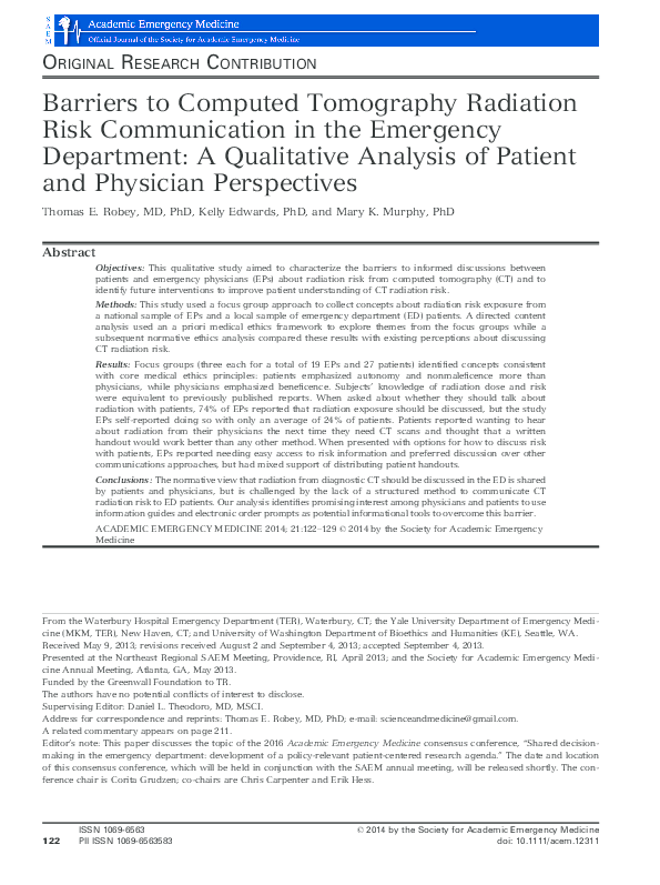 PDF) Barriers to Computed Tomography Radiation Risk Communication in