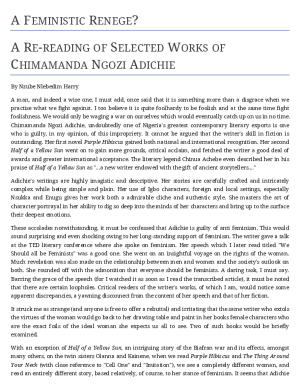 Pdf A Feministic Renege A Study Of Selected Works Of Chimamanda