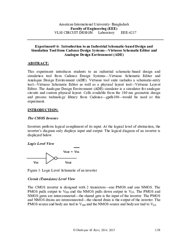 Pdf Vlsi Lab9 Cadence Schem F 15 V1 Comp Sent Pdf Mahfuza Momen Academia Edu