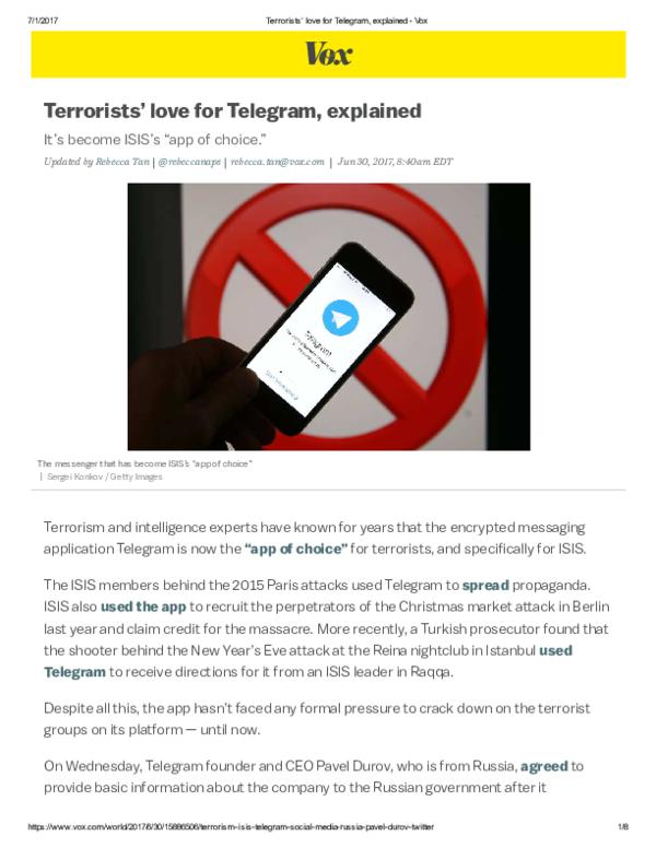 PDF) Terrorists' love for Telegram, explained   Ahmet S