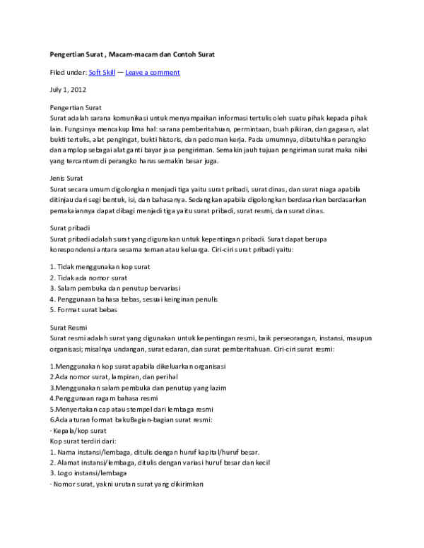 Doc Pengertian Surat Ardi 1818 Academiaedu