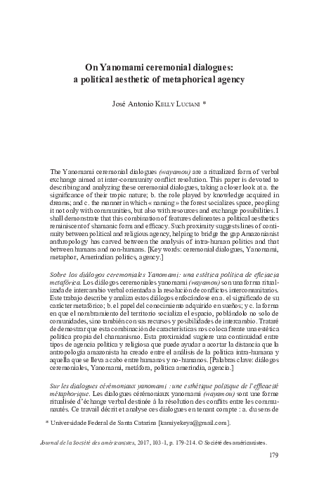 Pdf On Yanomami Ceremonial Dialogues A Political Aesthetic Of Metaphorical Agency Jose A Kelly Luciani Academia Edu