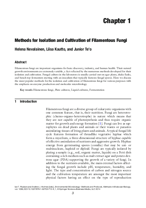 PDF) Methods for Isolation and Cultivation of Filamentous
