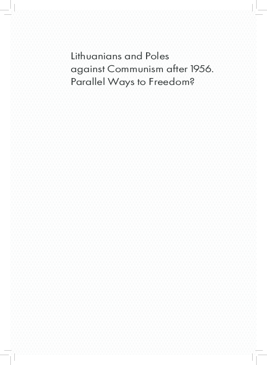 PDF) Lithuanians and Poles against Communism after 1956  Parallel