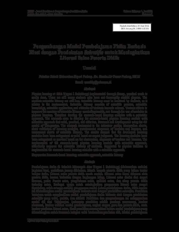 Pdf Pengembangan Modul Pembelajaran Fisika Berbasis Riset Dengan Pendekatan Scientific Untuk Meningkatkan Literasi Sains Peserta Didik Jpppf Pendidikan Fisika Unj Academia Edu