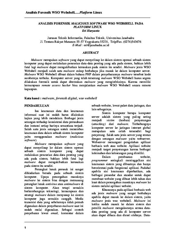 PDF) Analisis Forensik WSO Webshell      Platform Linux