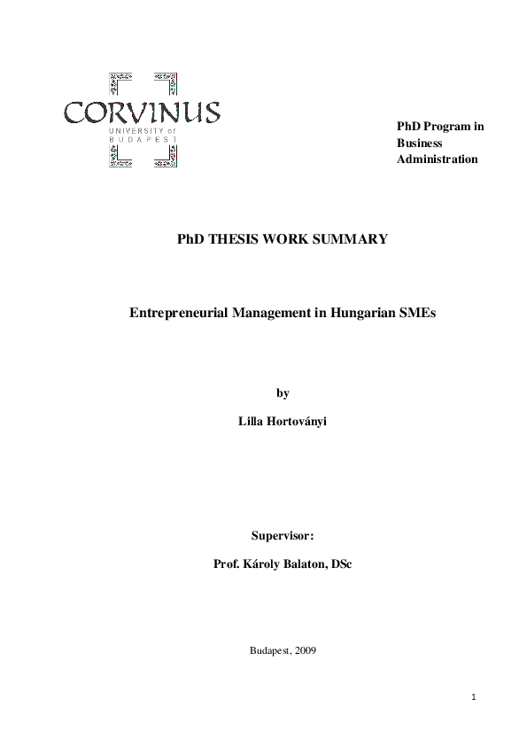 Management Phd Thesis