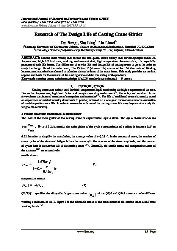 Crane Girder Design Calculation