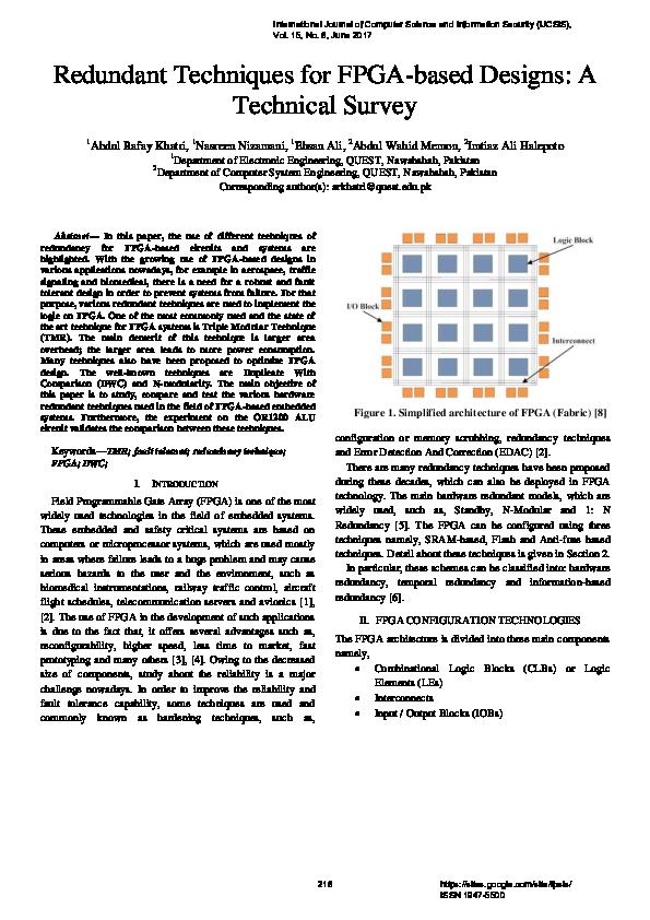 Pdf Redundant Techniques For Fpga Based Designs A Technical Survey Journal Of Computer Science Ijcsis Academia Edu