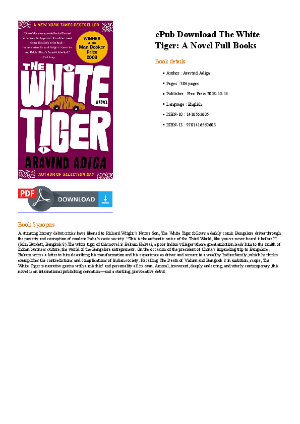 The White Tiger Novel Pdf