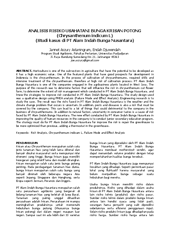 Analisis Risiko Usahatani Bunga Krisan Potong Chrysanthenum Indicum