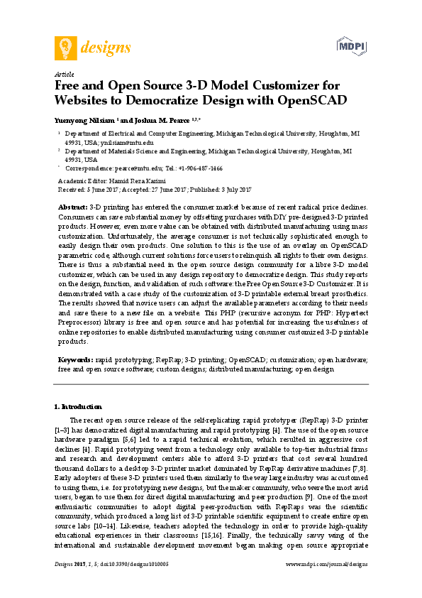 PDF) Free and Open Source 3-D Model Customizer for Websites