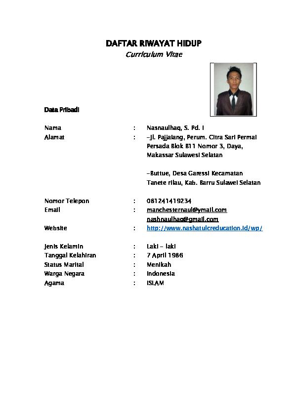 Pdf Daftar Riwayat Hidup Curriculum Vitae Nashna Ulhaq
