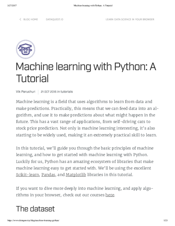 PDF) Machine learning with Python A Tutorial | Juan De dios
