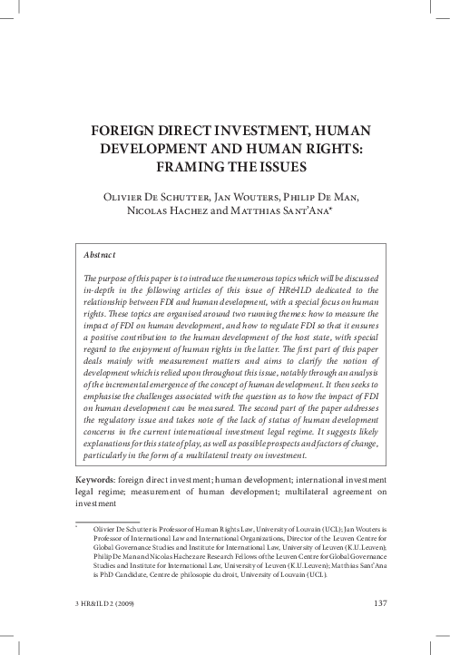 Foreign Direct Investment Human Development And Human Rights