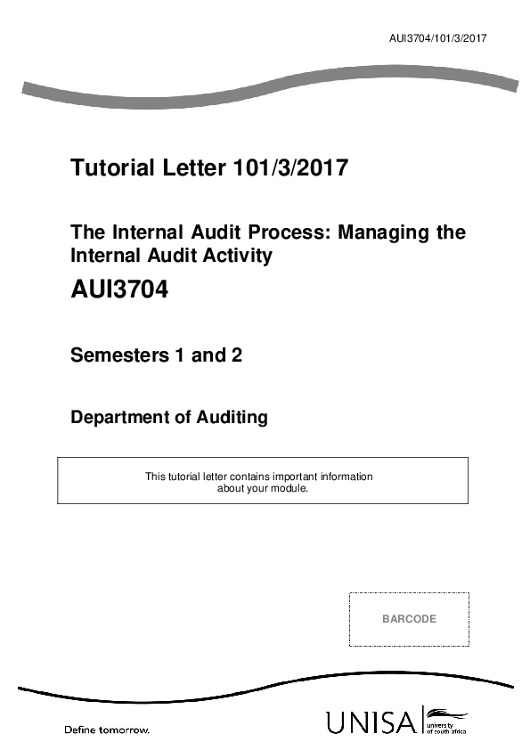 PDF) Tutorial Letter 101/3/2017 The Internal Audit Process: Managing