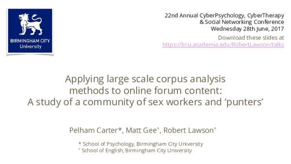 PDF) Applying large scale corpus analysis methods to online