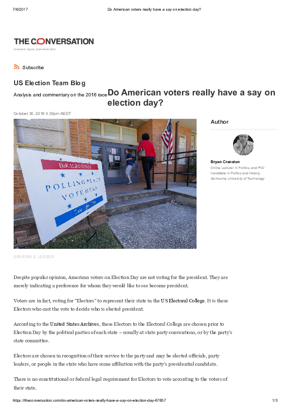 PDF) Do American voters really have a say on election day