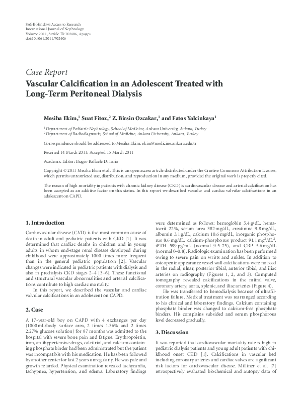 PDF) Vascular Calcification in an Adolescent Treated with
