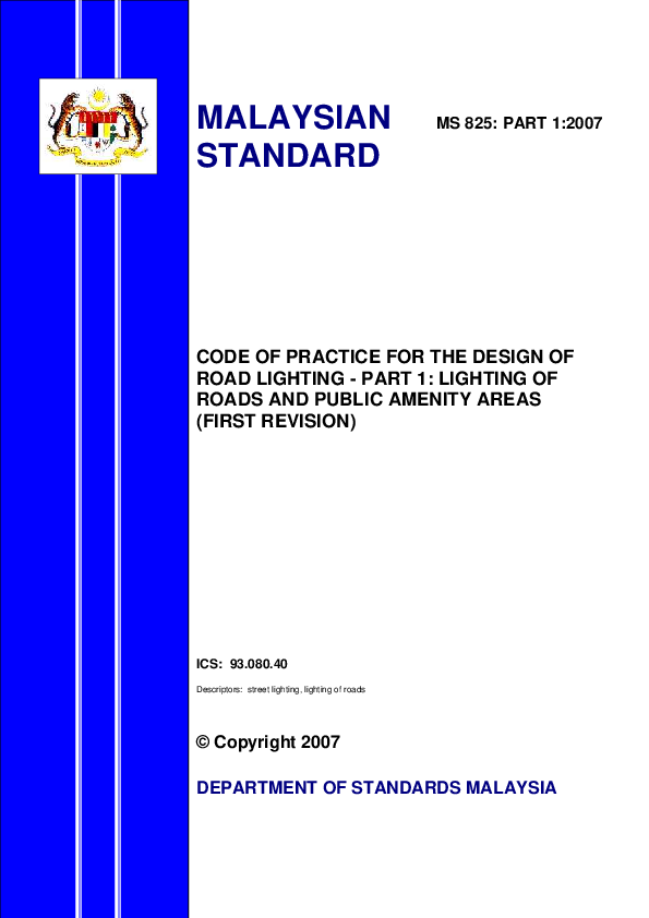 PDF) CODE OF PRACTICE FOR THE DESIGN OF ROAD LIGHTING -PART 1