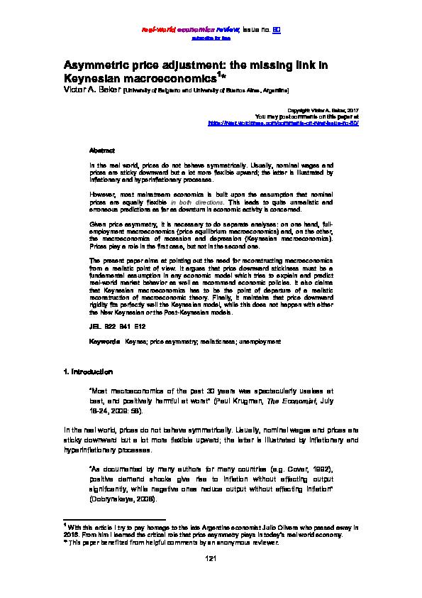 PDF) The missing link in Keynesian macroeconomics | Victor
