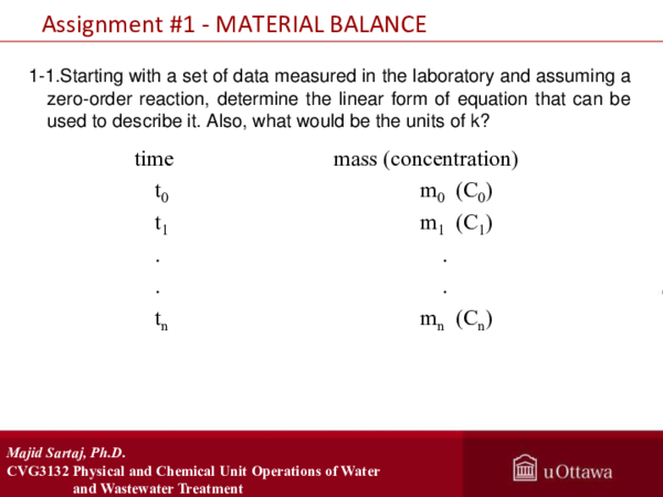 PDF) Assignment #1 -MATERIAL BALANCE CVG3132 Physical and