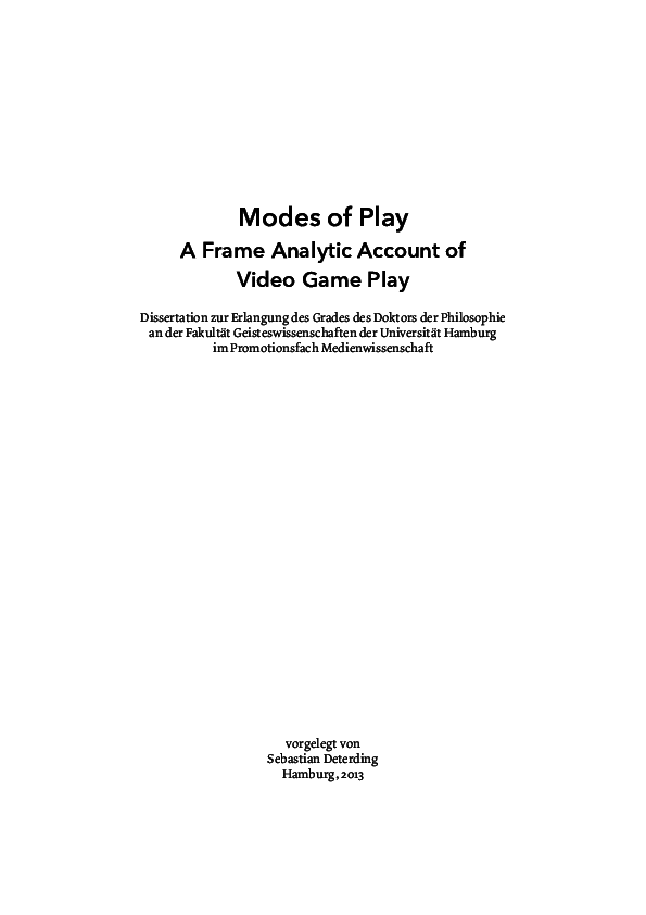 PDF) Modes of Play: A Frame Analytic Account of Video Game