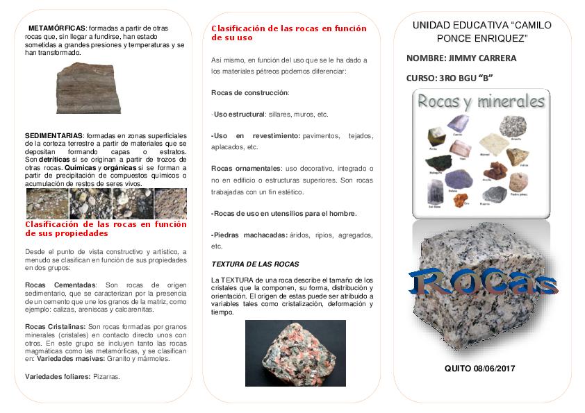 Doc Rocas Y Minerales Triptico Jimmy Carrera Academia Edu
