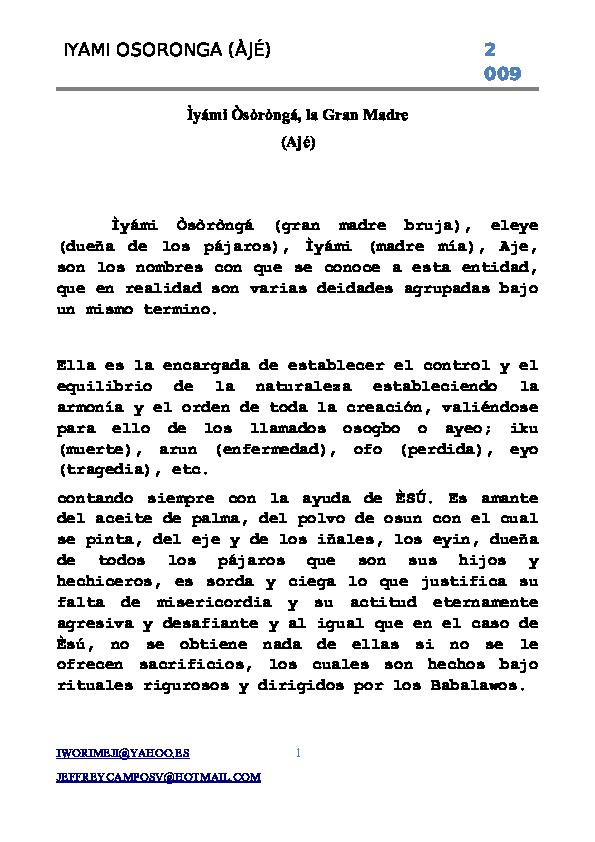 PDF) IYAMI OSORONGA (ÀJÉ) 2 009   Paola Herrrera - Academia edu