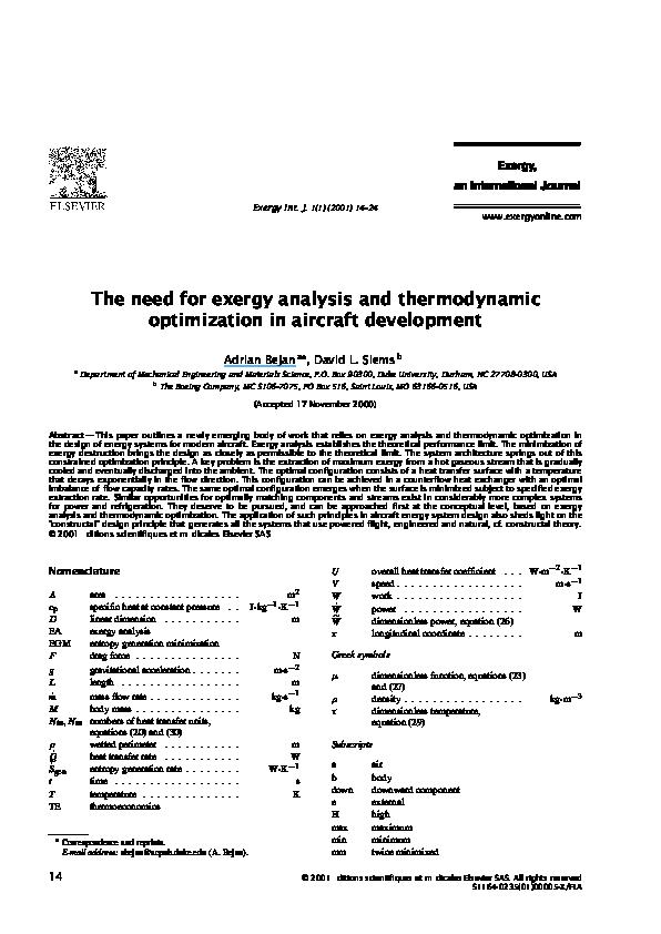 PDF) The need for exergy analysis and thermodynamic