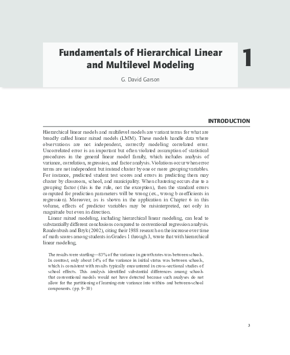 PDF) Fundamentals of Hierarchical Linear and Multilevel