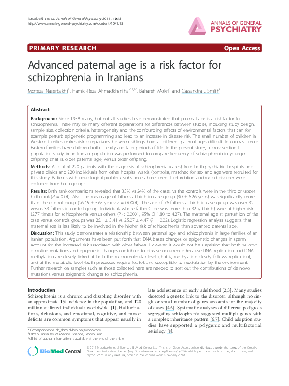 The Link Between Parental Age And >> Pdf Advanced Paternal Age Is A Risk Factor For