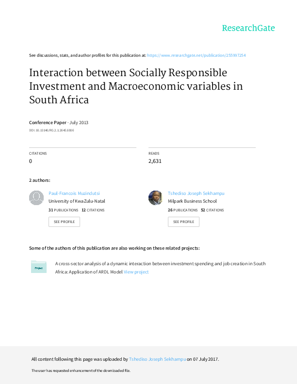 c4a6e0fda864b7 PDF) Interaction between Socially Responsible Investment and ...