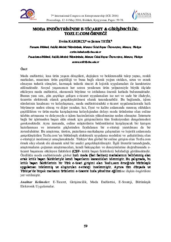 b0238aa4f9f33 PDF) MODA ENDÜSTRİSİNDE E-TİCARET & GİRİŞİMCİLİK: TOZLU.COM ÖRNEĞİ ...