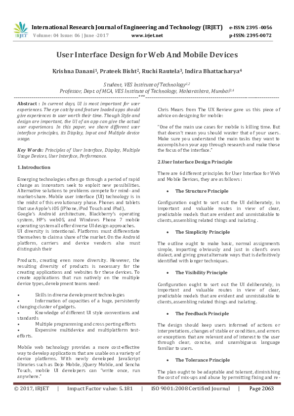 Pdf User Interface Design For Web And Mobile Devices Irjet Journal Academia Edu