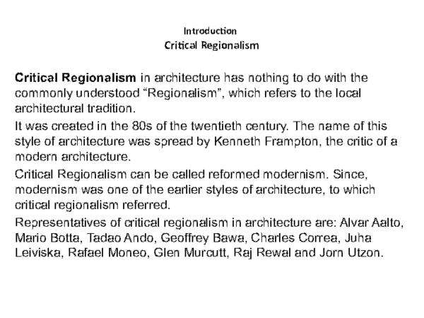 Ppt Critical Regionalism Sabir Shah Academia Edu