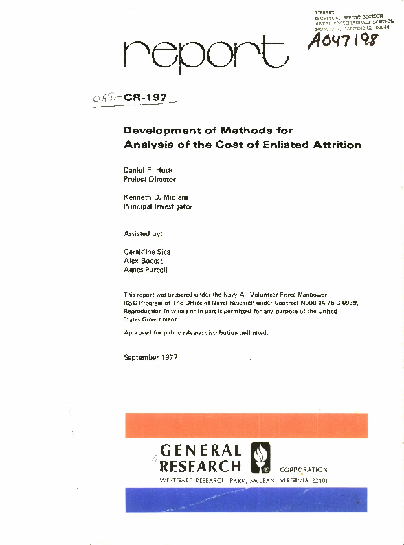 PDF) Development of Methods for Analysis of the Cost of Enlisted